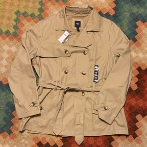NWT GAP Double Breasted Peacoat Tan Belted XL